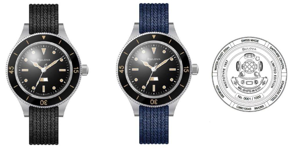 2 verze hodinek Bulova MIL-SHIPS: limitovaná edice Bulova Mil-Ships Limited Edition 98A265 v počtu 1000 ks a téměř stejný model běžné kolekce Bulova Mil-Ships 98A266