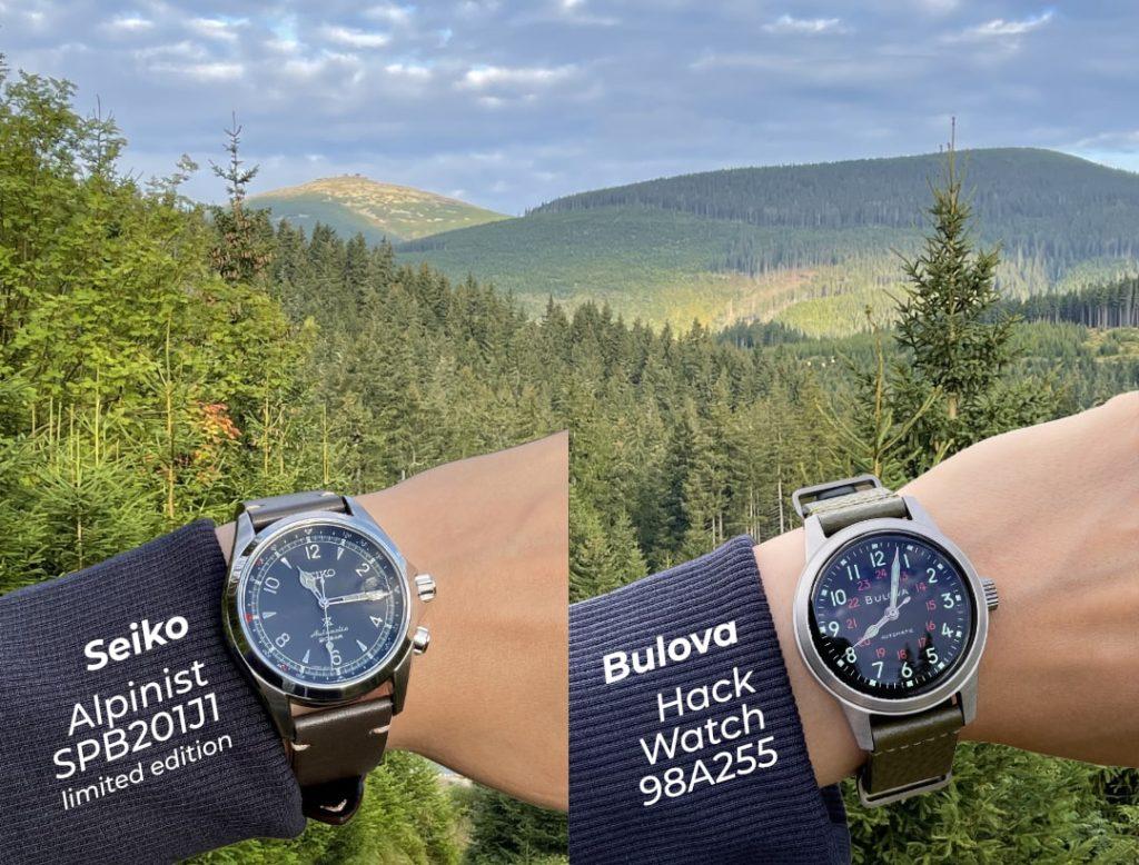 Outdoorový test hodinek Seiko Alpinist a Bulova Hack Watch v Krkonoších